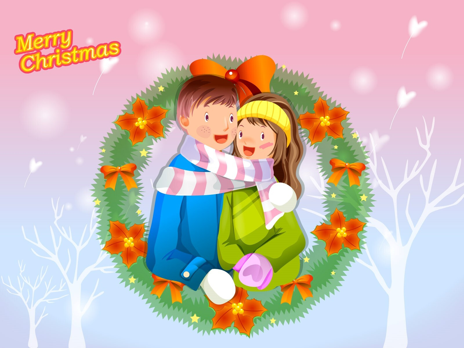 Merry Christmas Cute Catoon Couple Wallpaper