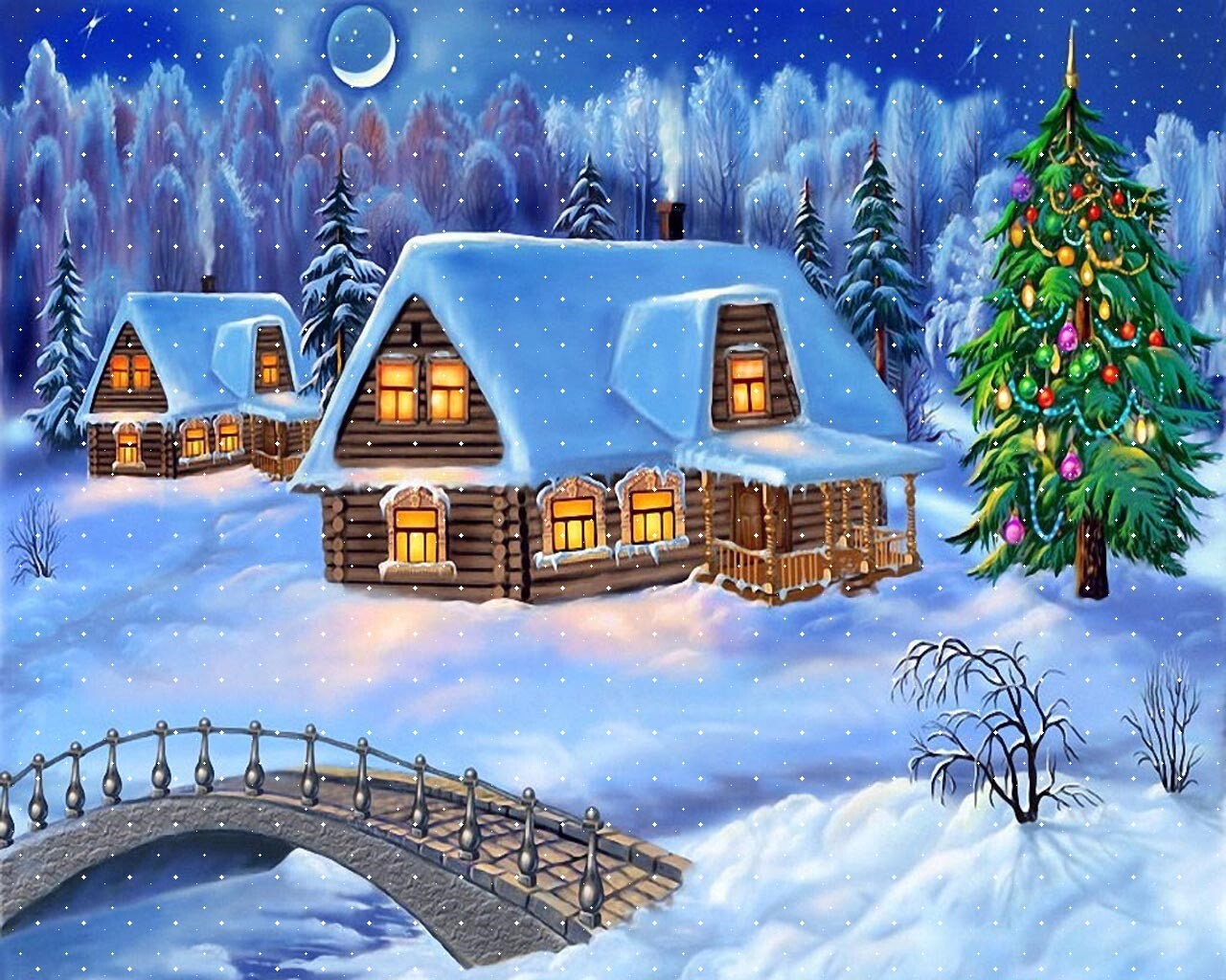 Snowy Christmas Night Decoration with Christmas Tree Wallpaper | HD ...