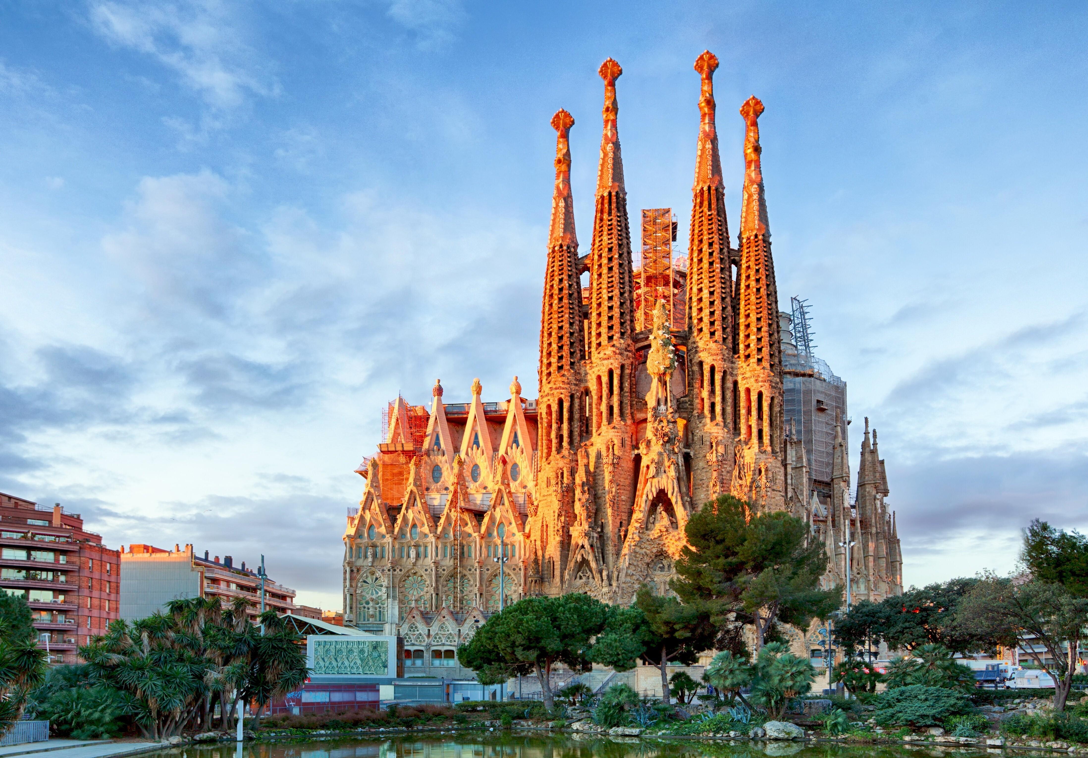 Sagrada Familia Famous Church In Barcelona Spain Country