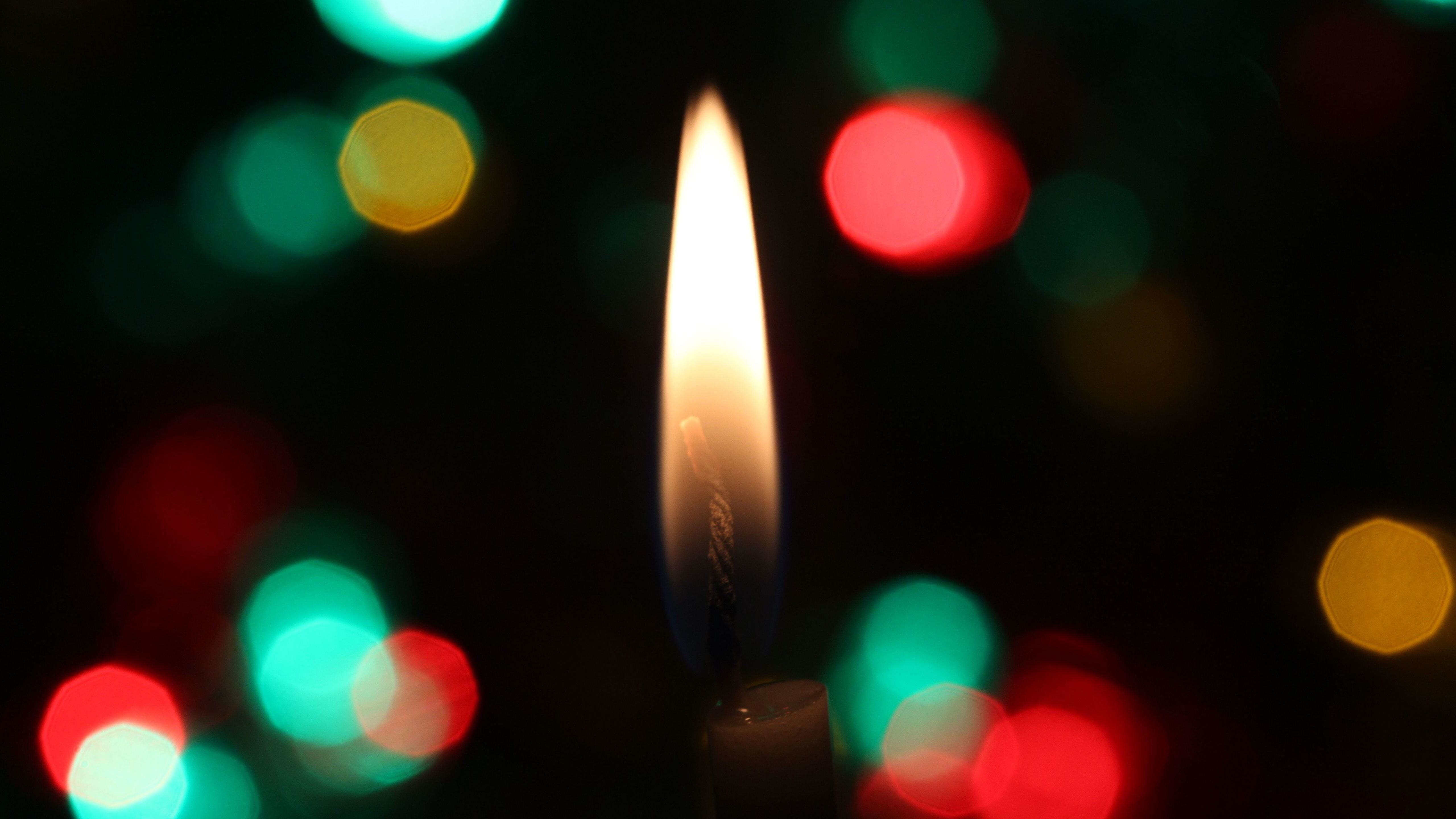 candle flame burns bokeh creative background 5k wallpapers hd