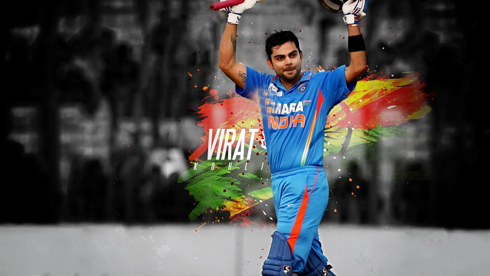 Handsome Virat Kohli With Bat Indian Cricket Player Wallpapers Hd
