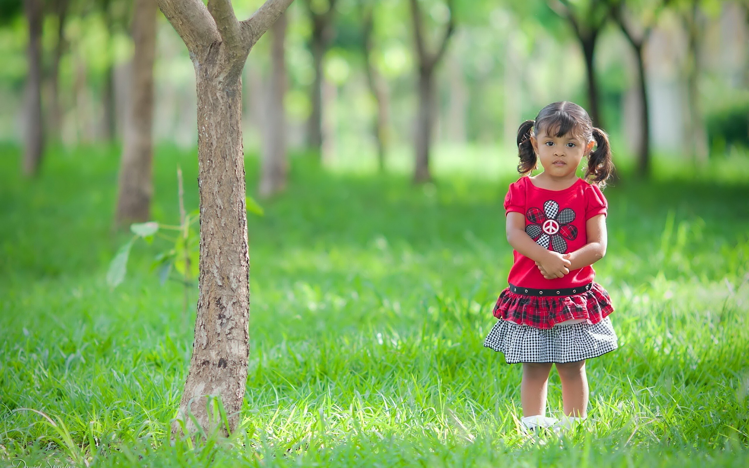 Beautiful Cute Little Girl Child Standing Silently in ...