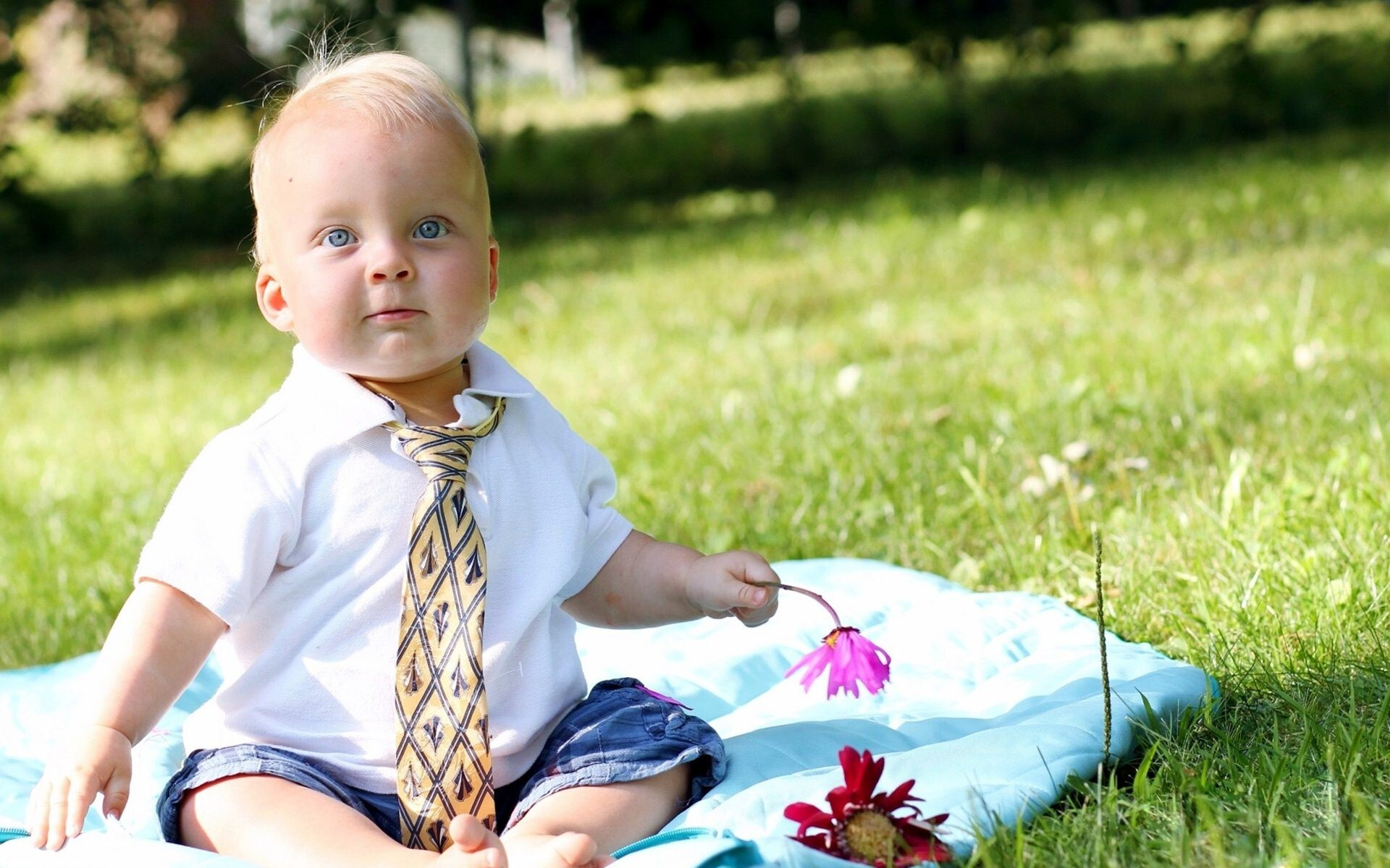 Beautiful White Baby Boy Playing In Garden Wallpapers Hd Wallpapers