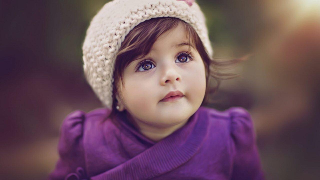 Cute Baby In Purple Dress Hd Wallpapers
