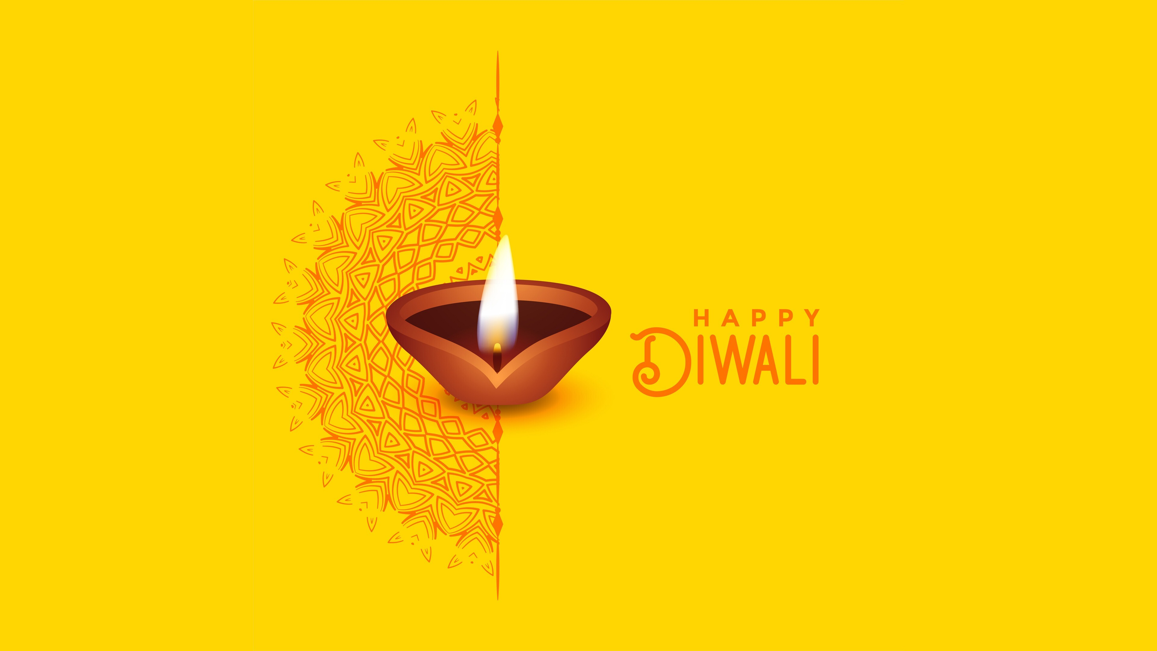 Happy Diwali 4k Wallpaper With Yellow Background Hd Wallpapers