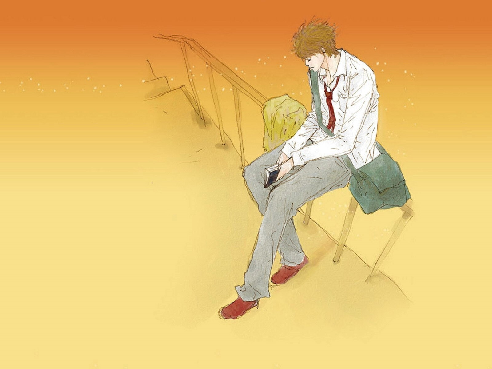 A Boy Waiting For Someone Drawing Wallpapers Hd Wallpapers