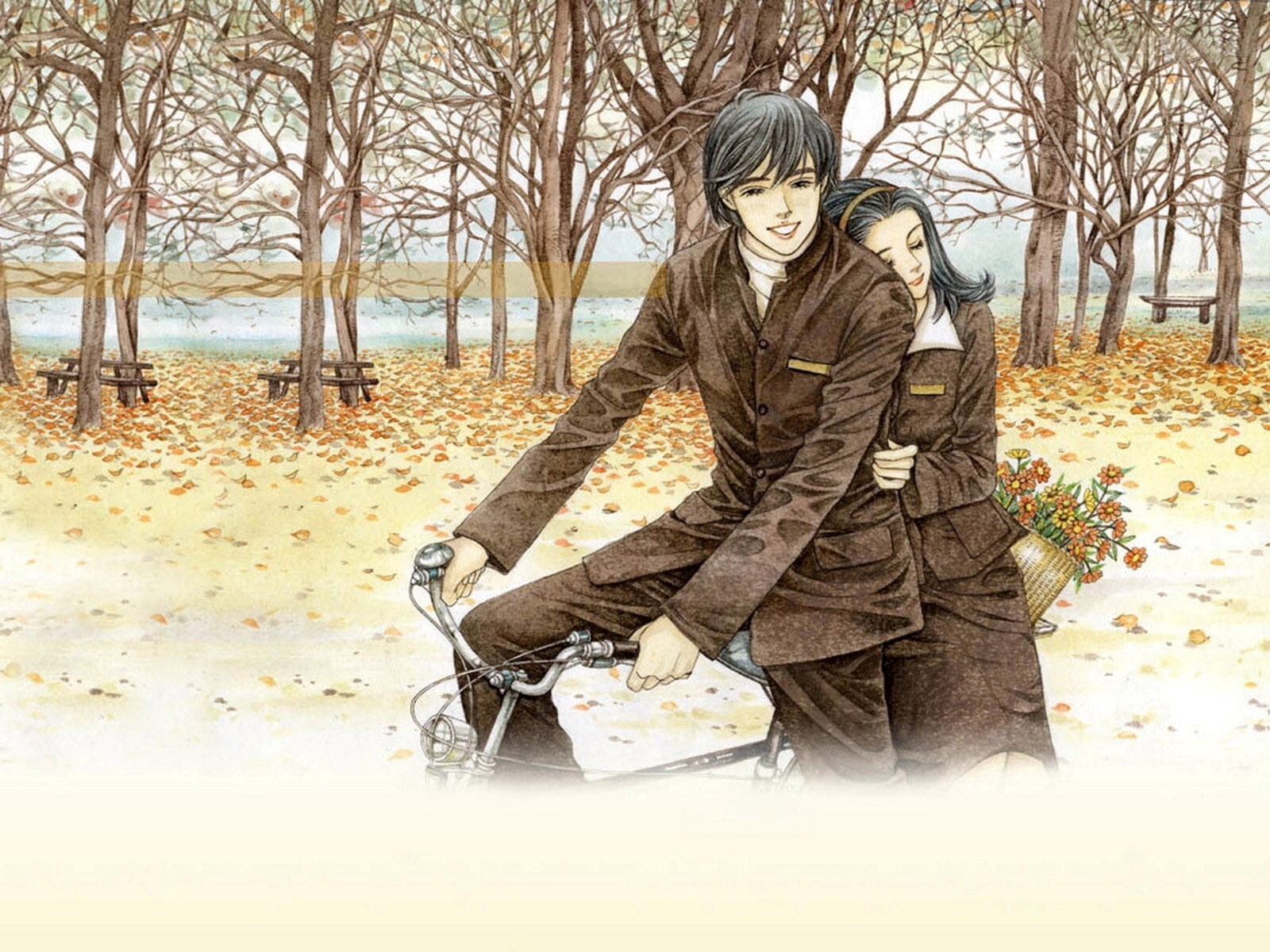 Romantic Couple on Bicycle Drawing Wallpapers | HD Wallpapers