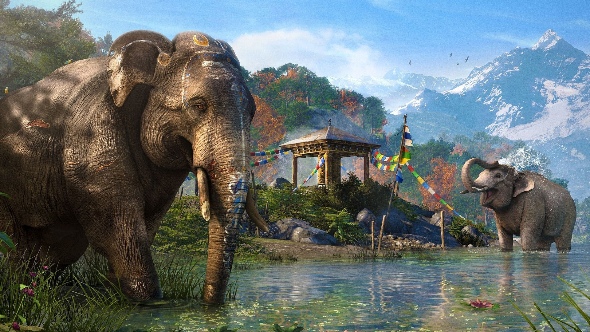 Indian Hindu Elephant In River Hd Wallpapers