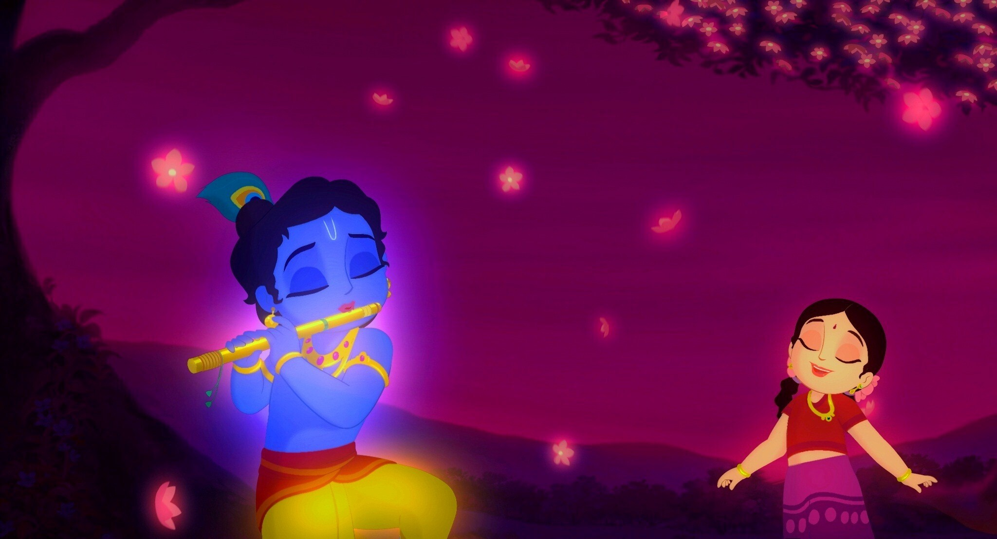 God Krishna Playing Flute With Radha Hd Wallpapers