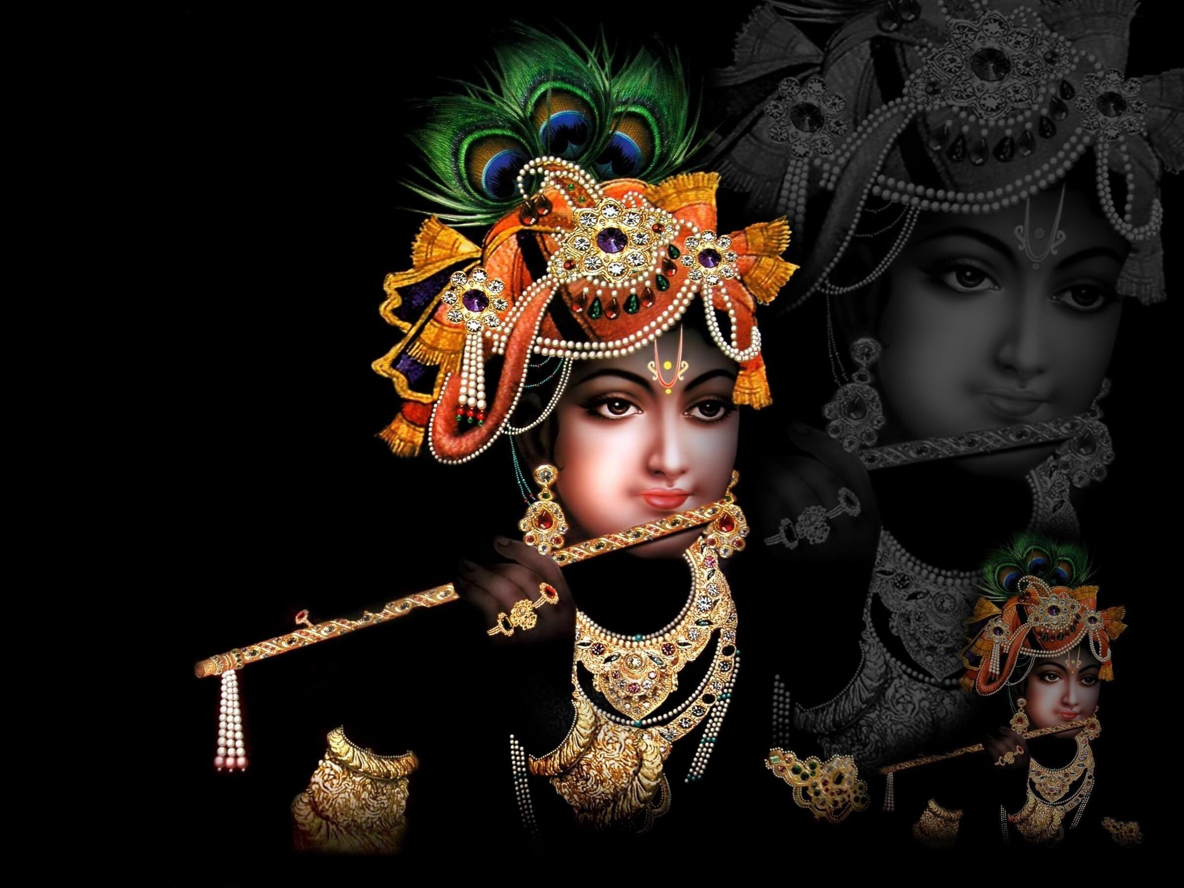 Shri Krishna In Black Background Hd Wallpapers
