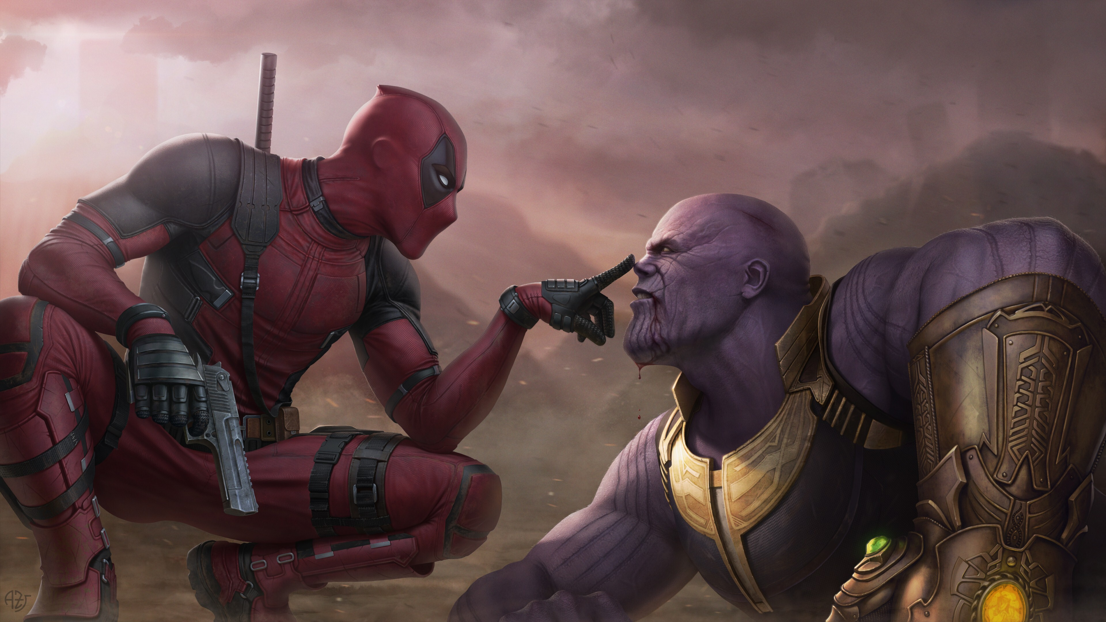 4k Pic Of Deadpool Vs Thanos Hd Wallpapers