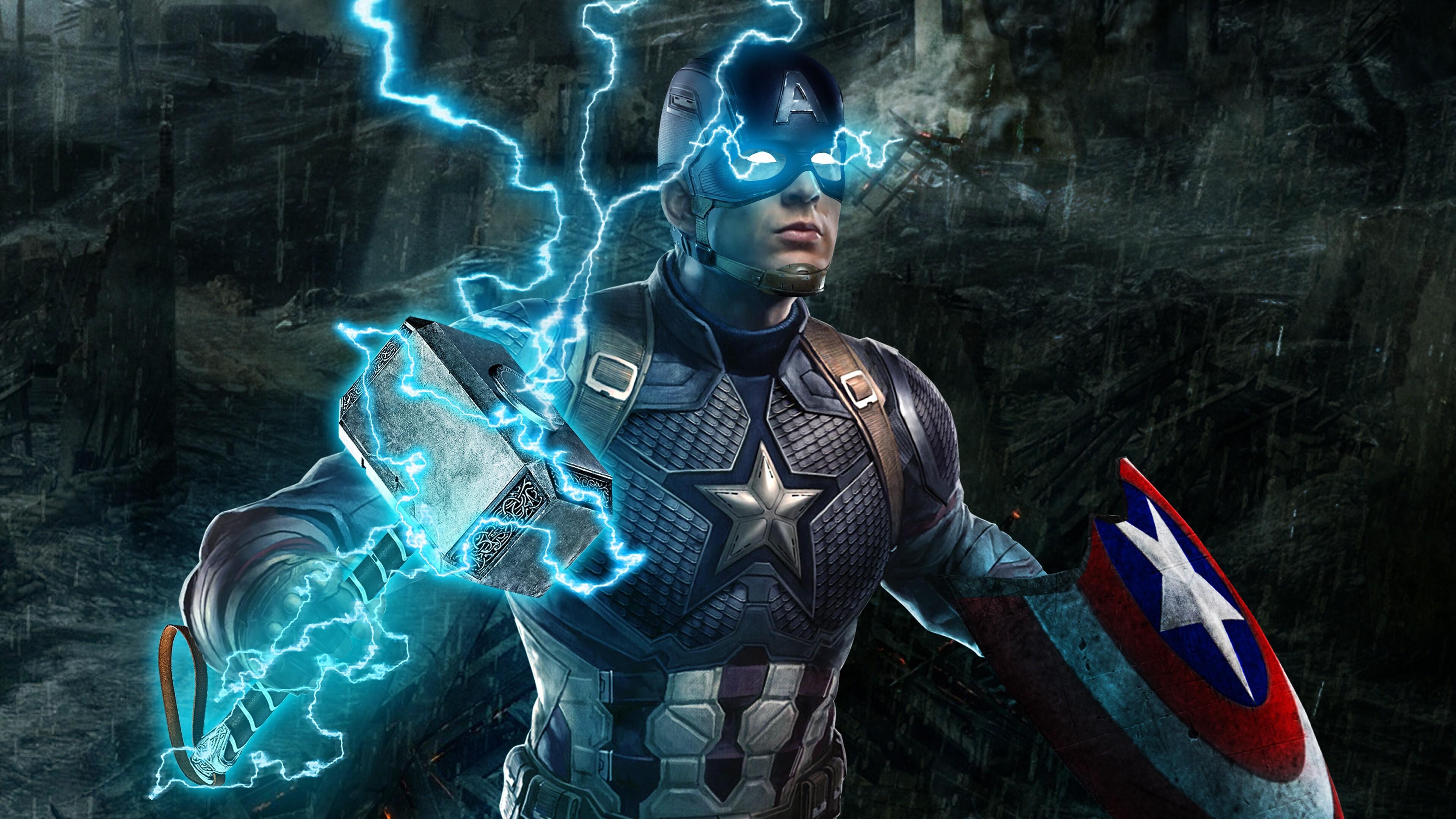 4k Wallpaper Of Captain America In Avengers Endgame Hd Wallpapers