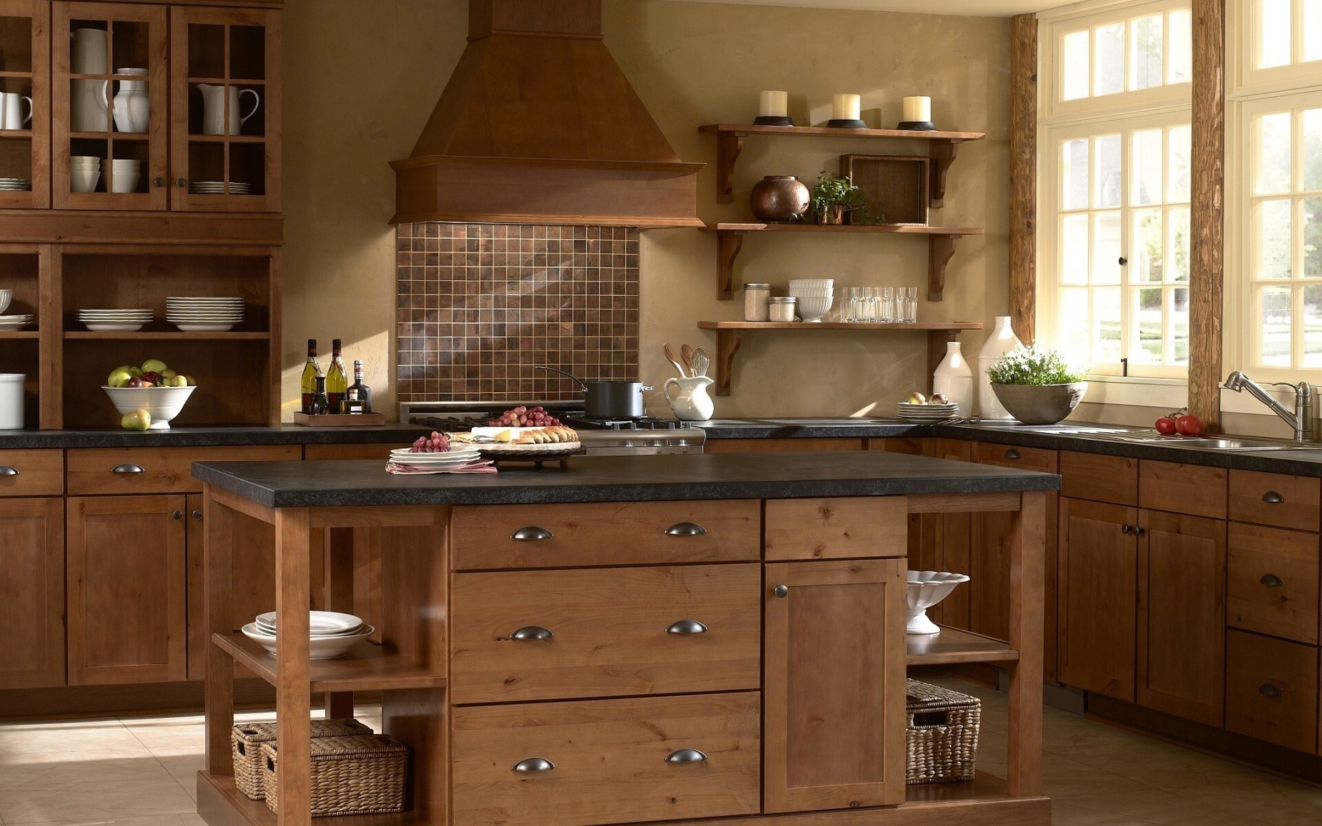 beautiful wooden kitchen home furniture hd images | hd wallpapers