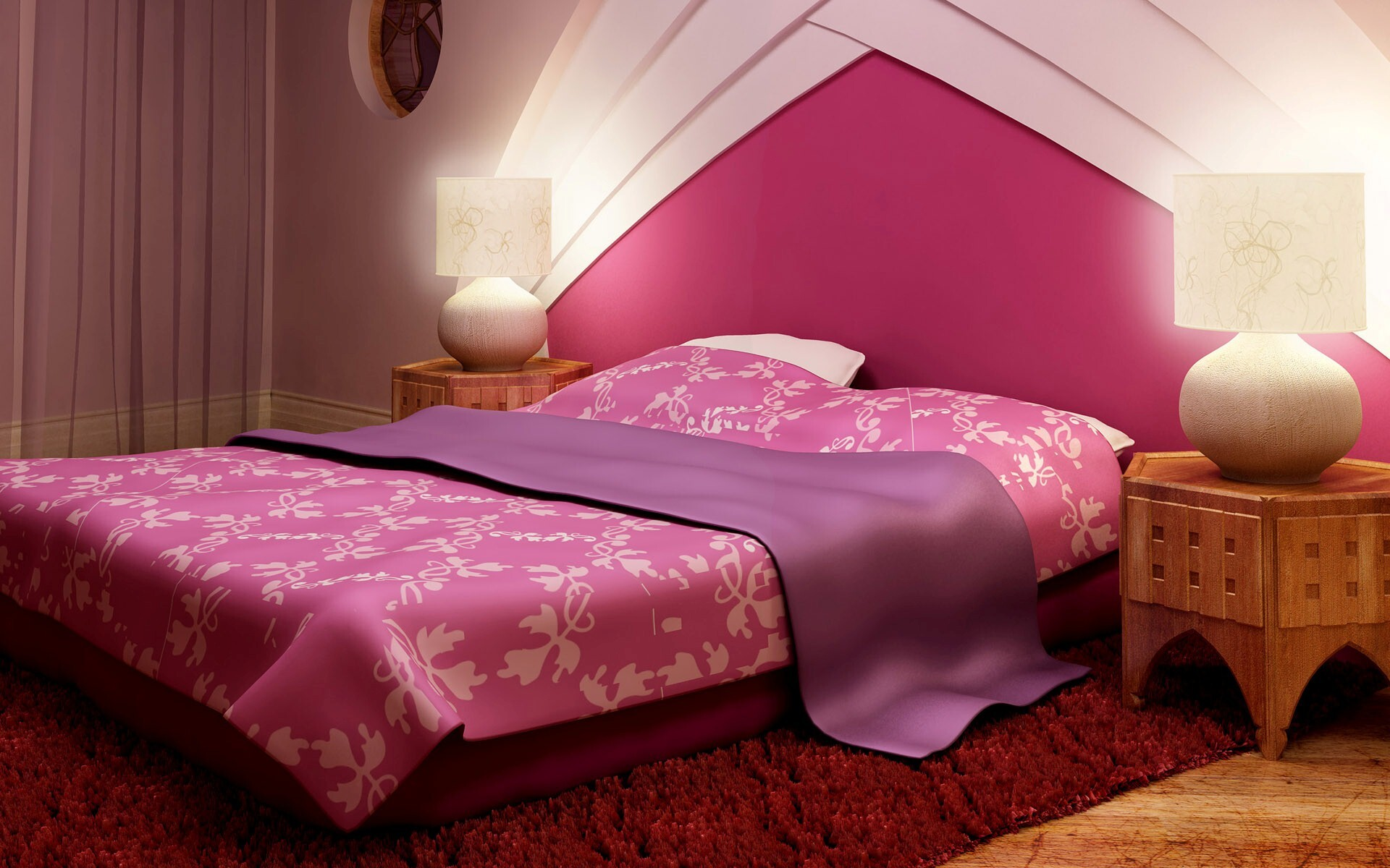 Nice Pink Bedroom Bed Interiors Images | HD Wallpapers