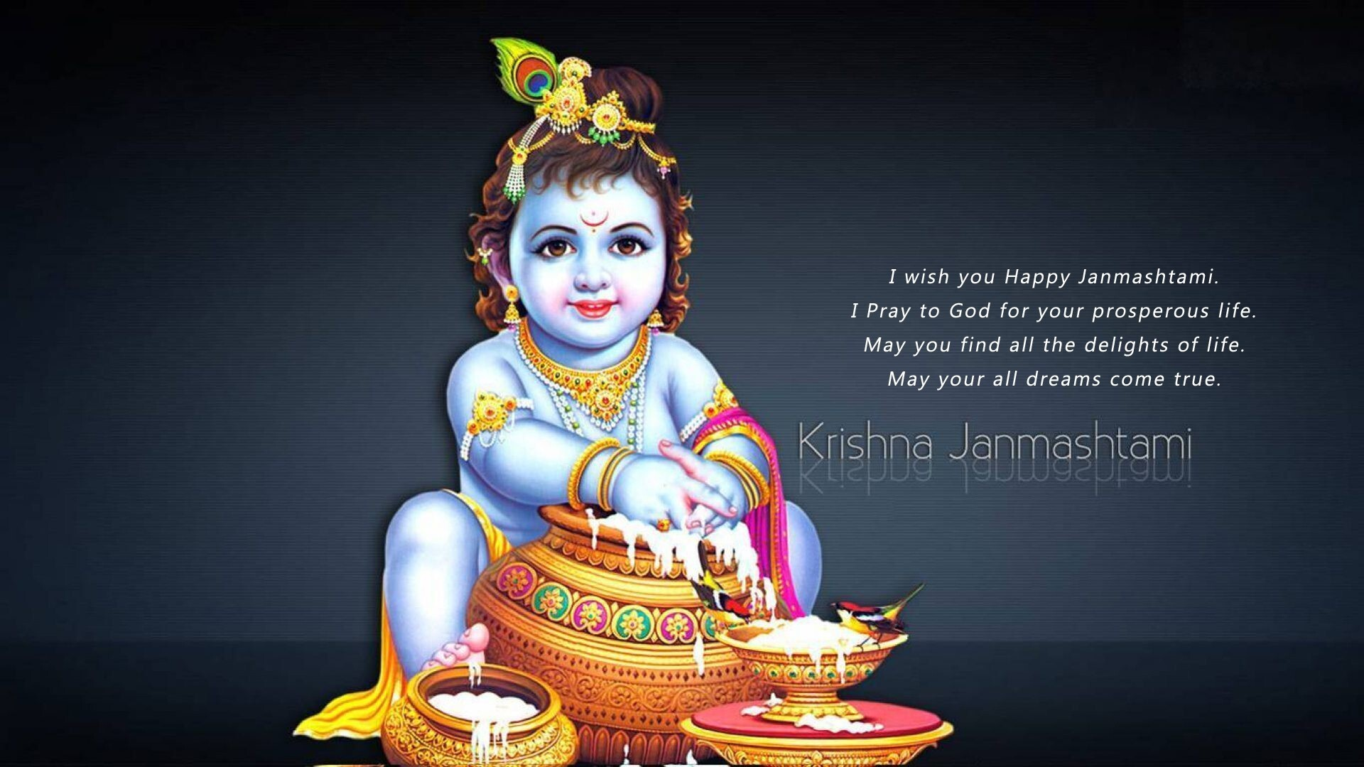 lord krishna happy janmashtami greetings message wallpaper hd