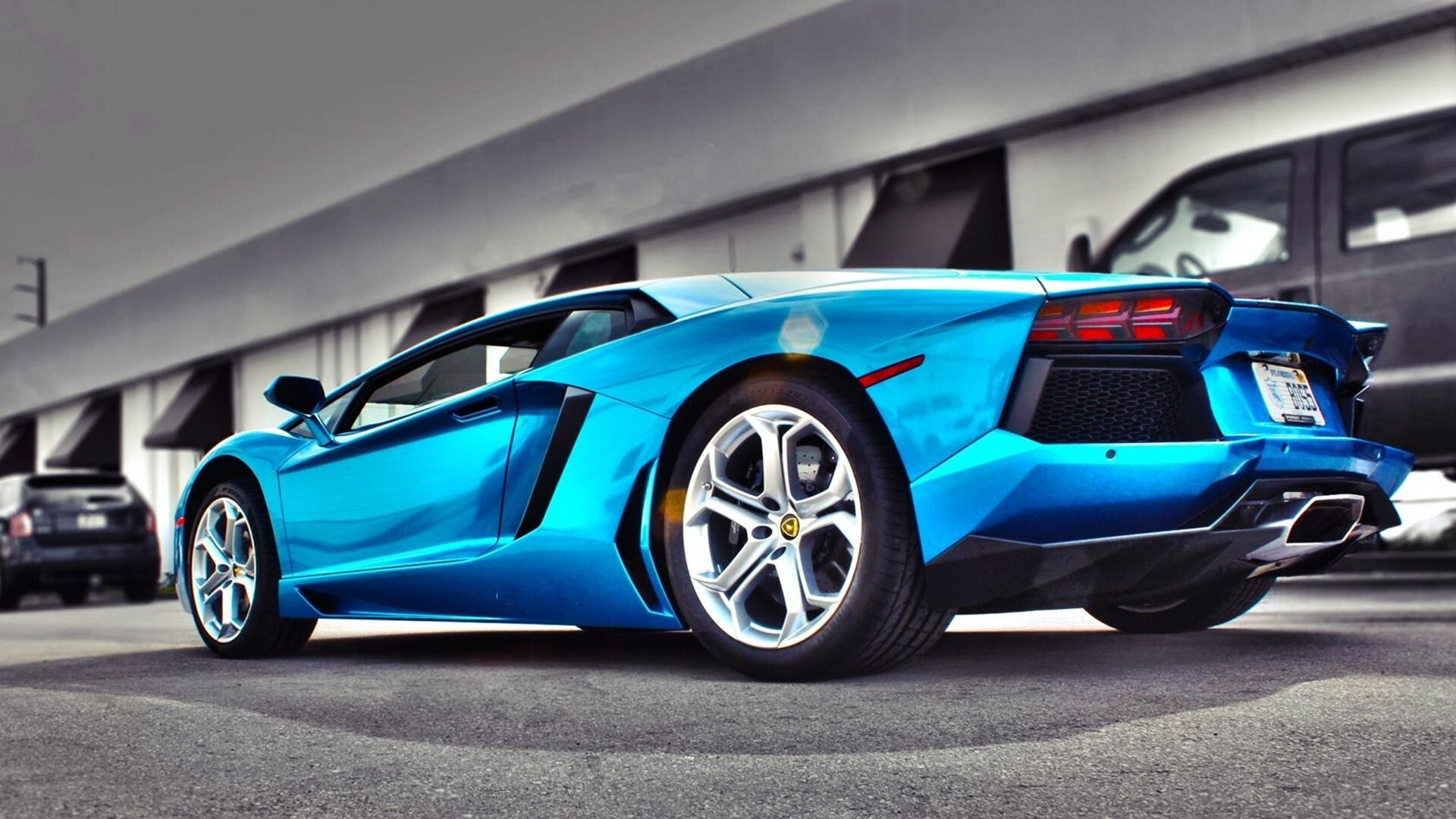 Blue Lamborghini Car Hd Desktop Photo Background Hd Wallpapers