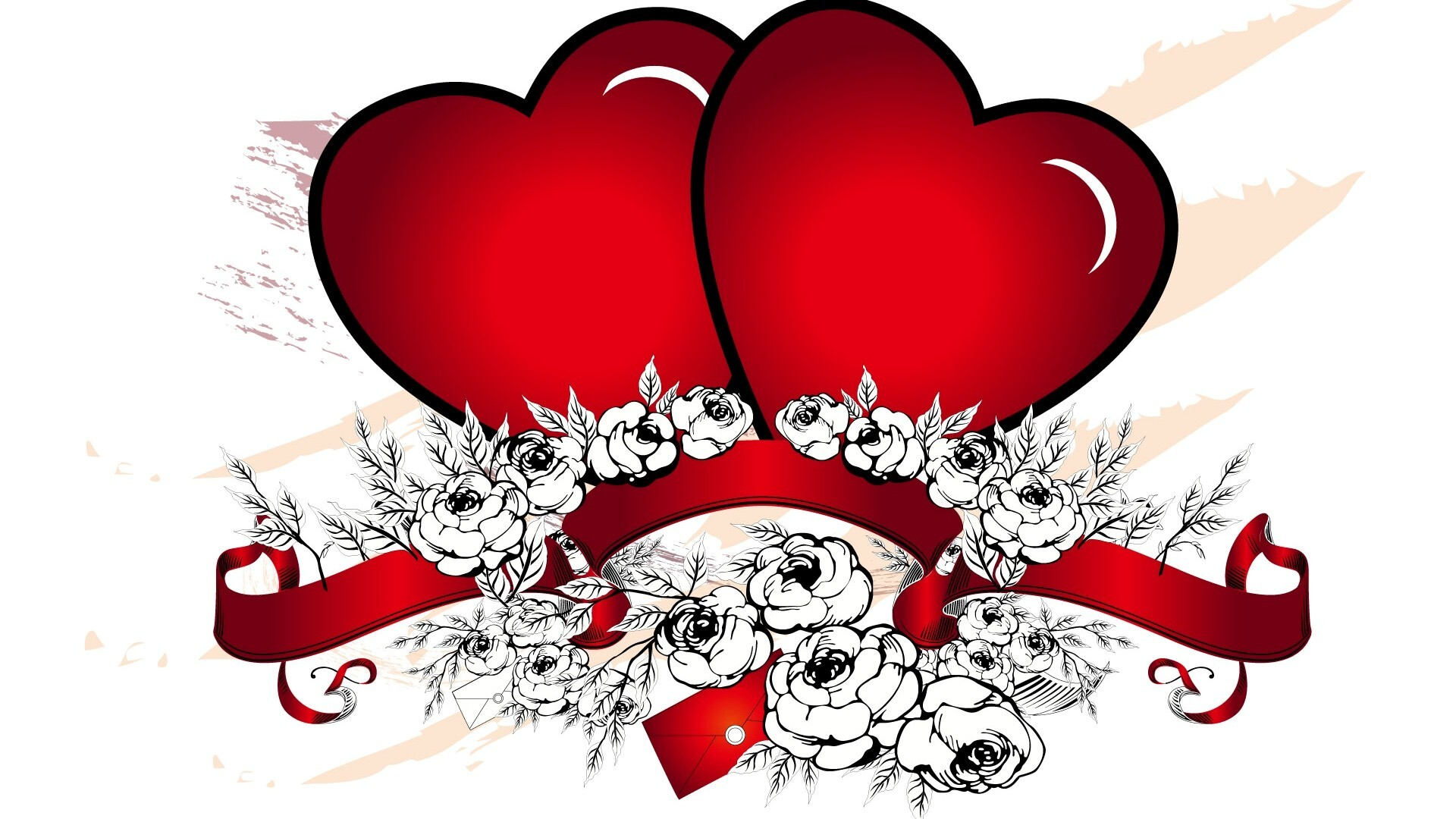 Beautiful two red heart vector design hd laptop background for Love in design