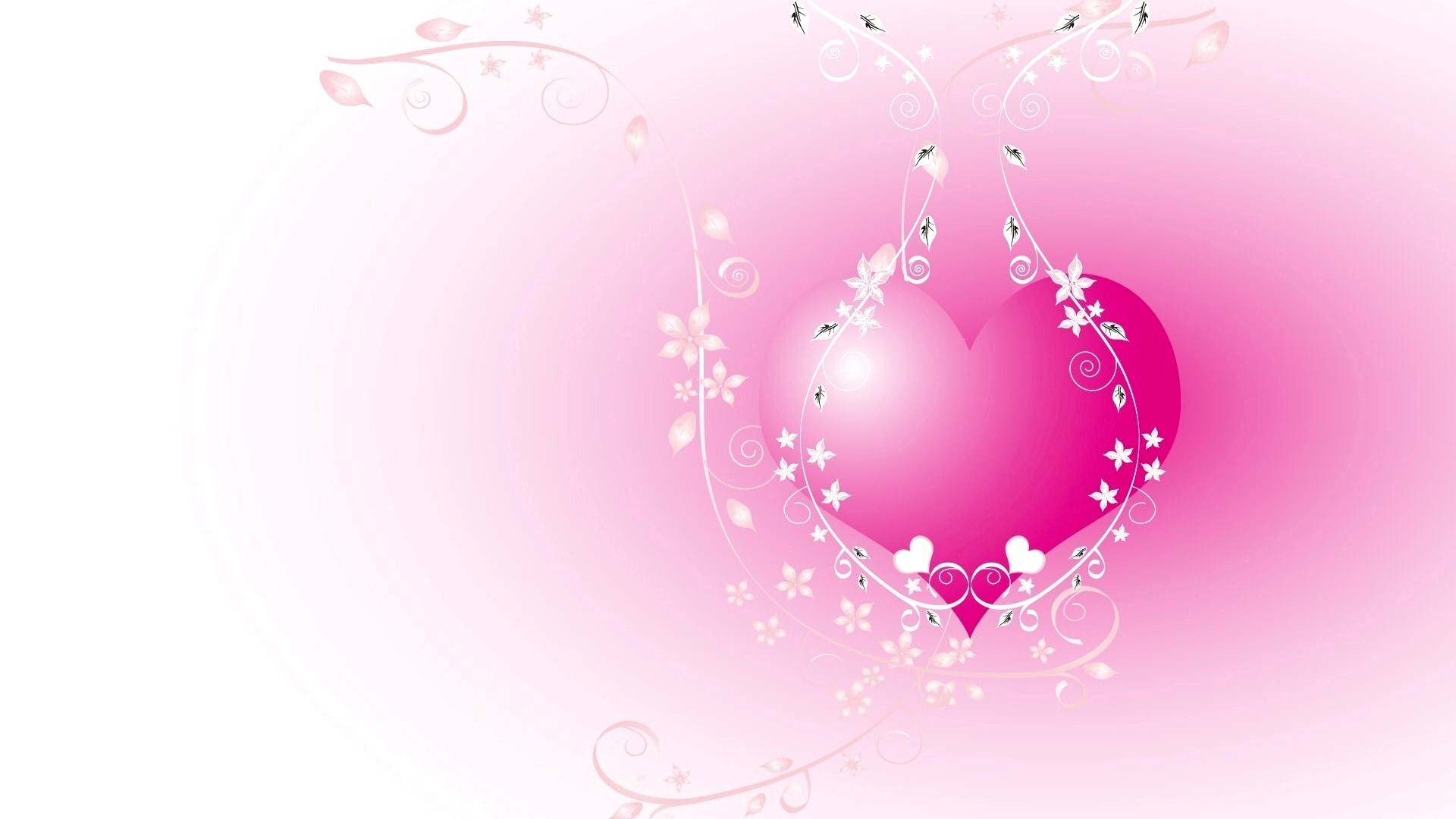 pink heart with white vector design | hd wallpapers