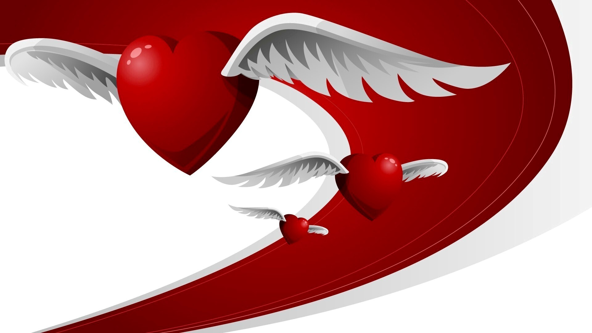 Red Heart Love Wallpaper: Red Heart With White Wings