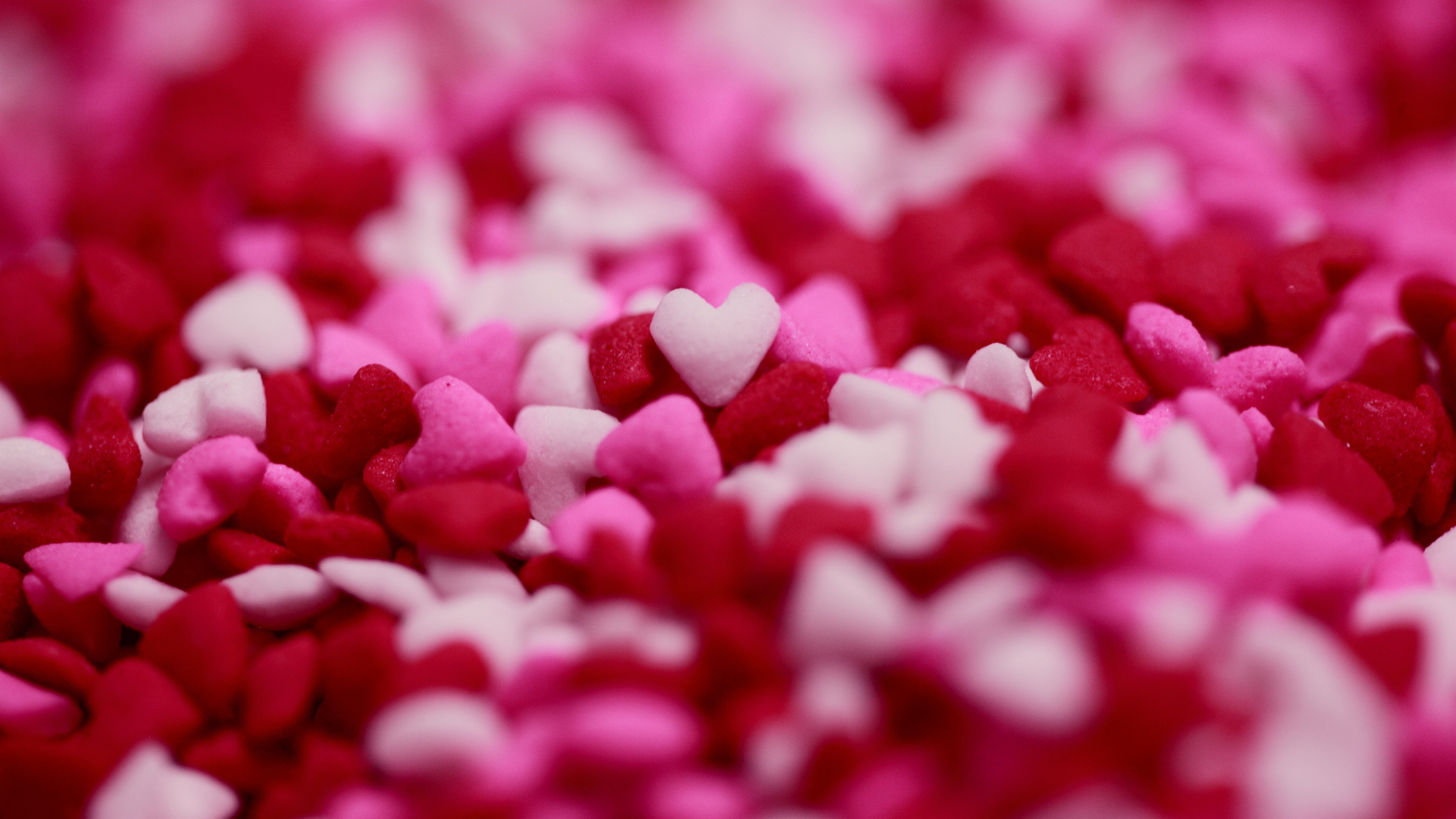 Valentines Day In Colorful Heart Sprinkles 5K Wallpaper