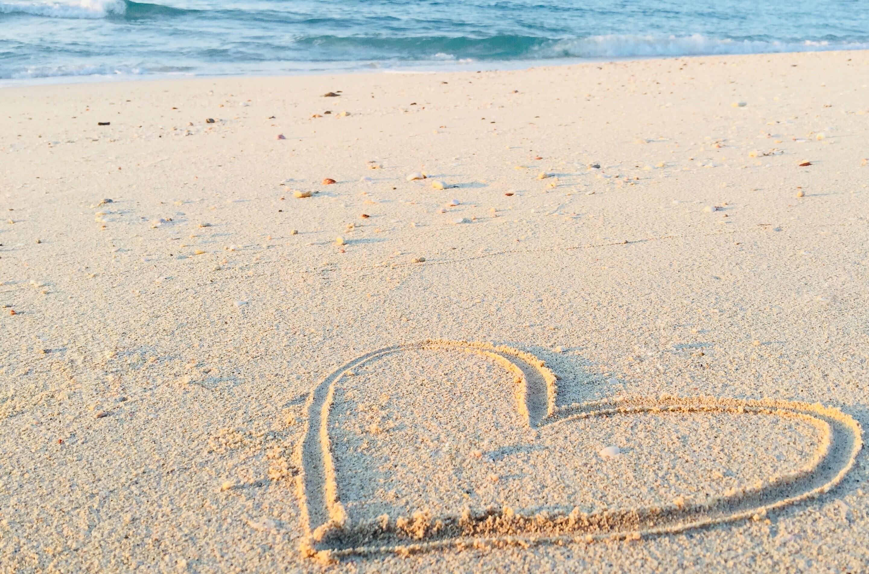 Wonderful Love Heart In Beach Hd Wallpapers