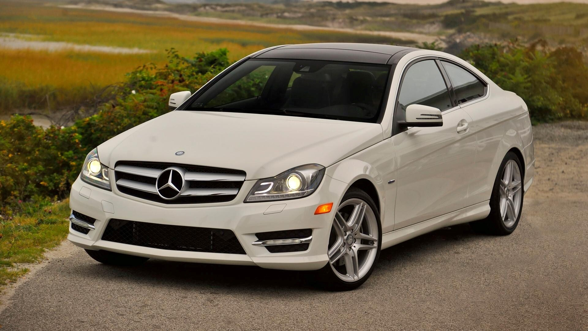 White mercedes benz c350 coupe c class car wallpaper hd for What is the newest mercedes benz