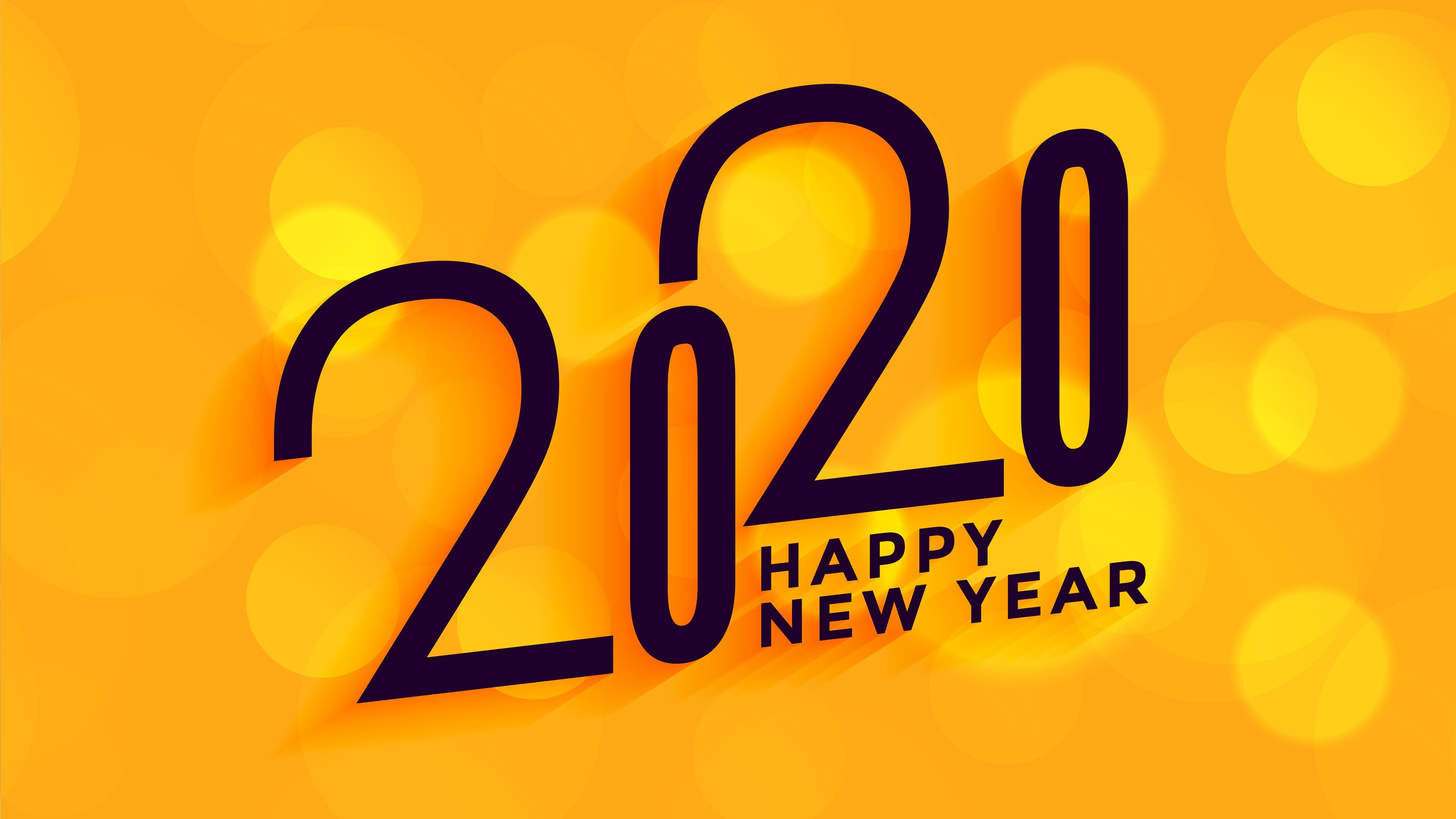 2020 Happy New Year Yellow 4k Wallpaper Hd Wallpapers