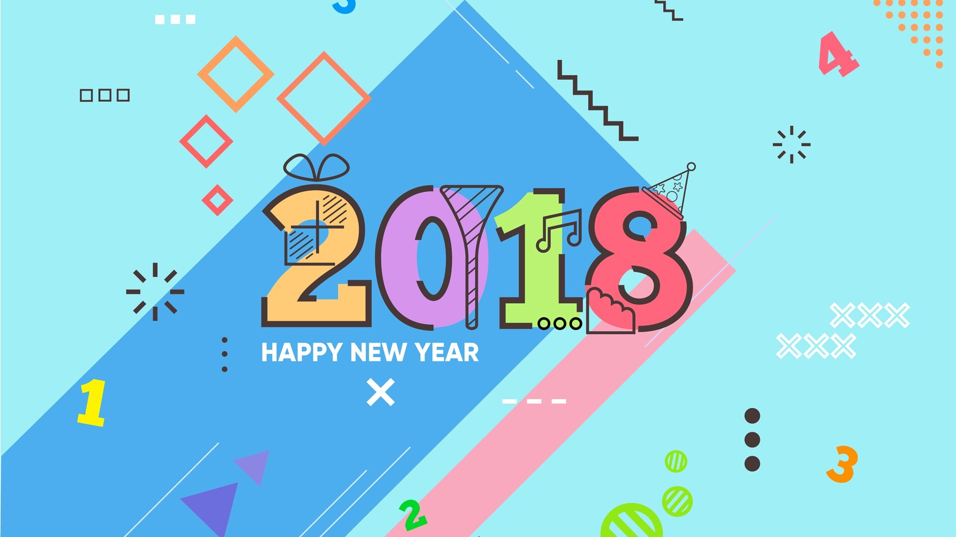 new year 2018 wallpaper with math theme