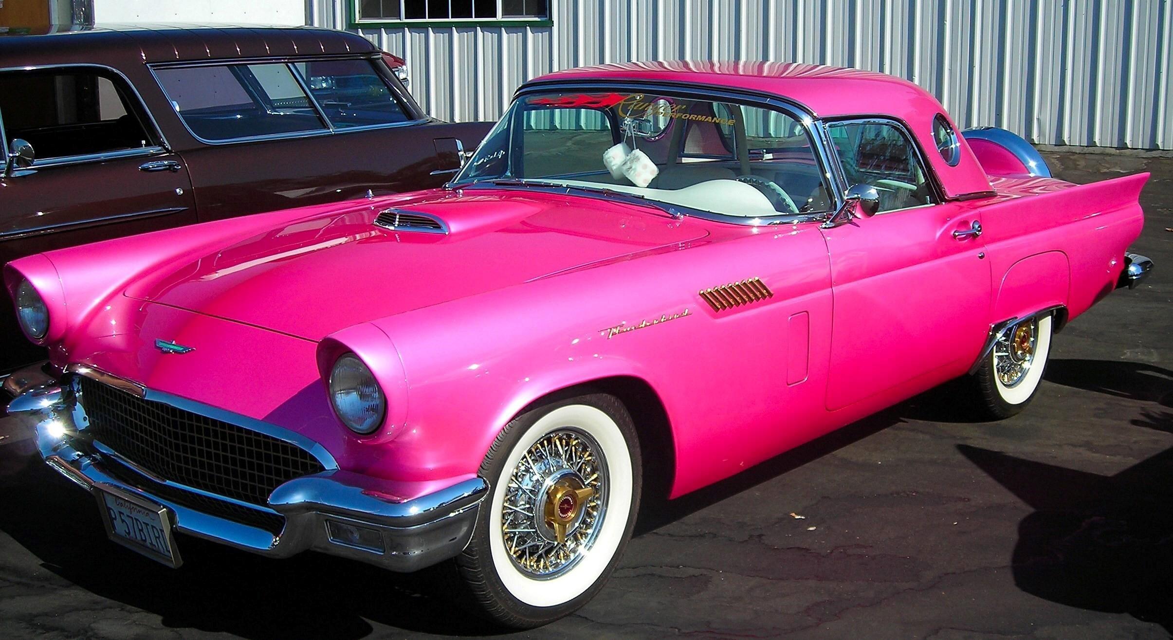 Nice Pink Vintage Car HD Image