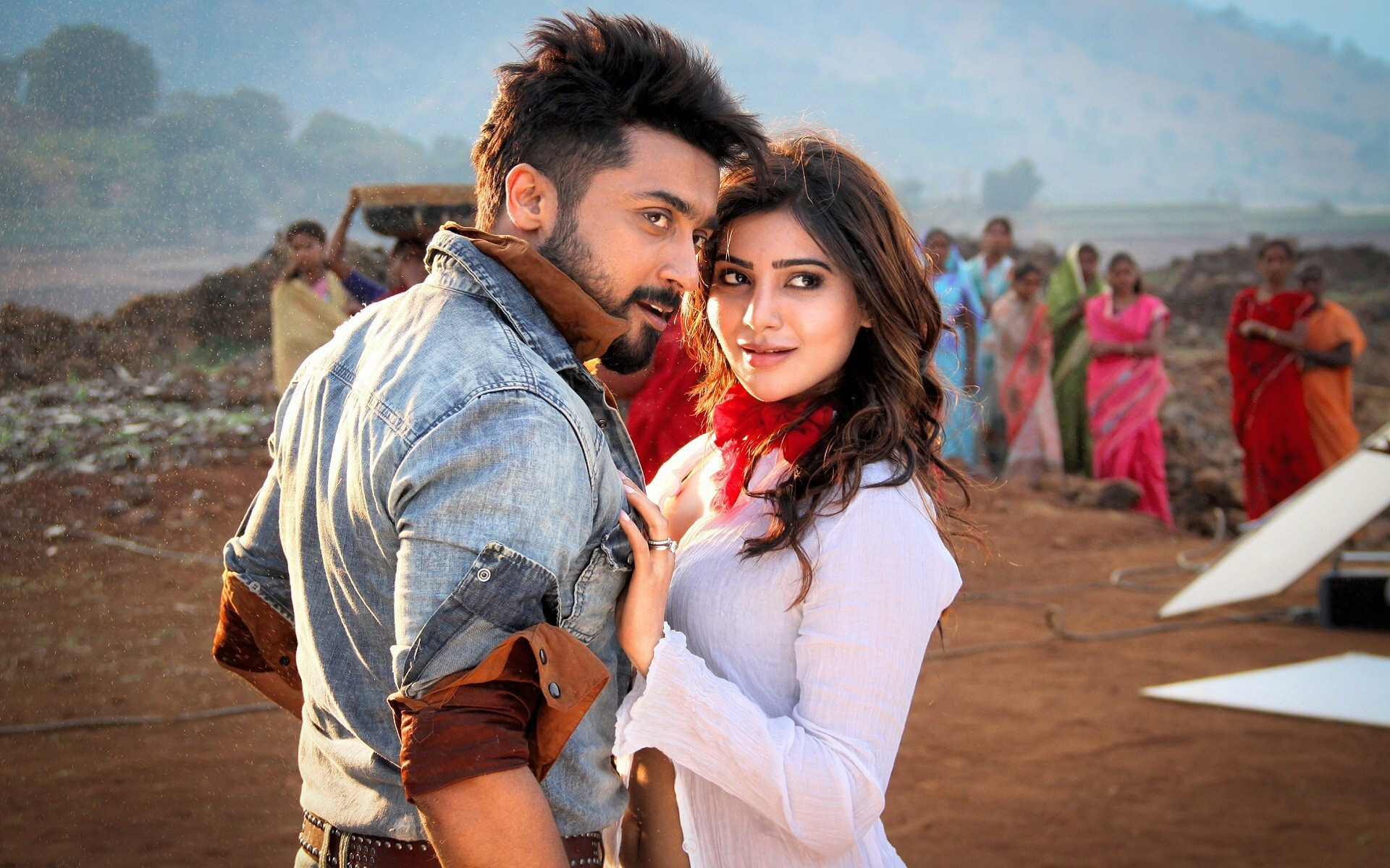 Suriya with samantha romantic couple hd wallpapers