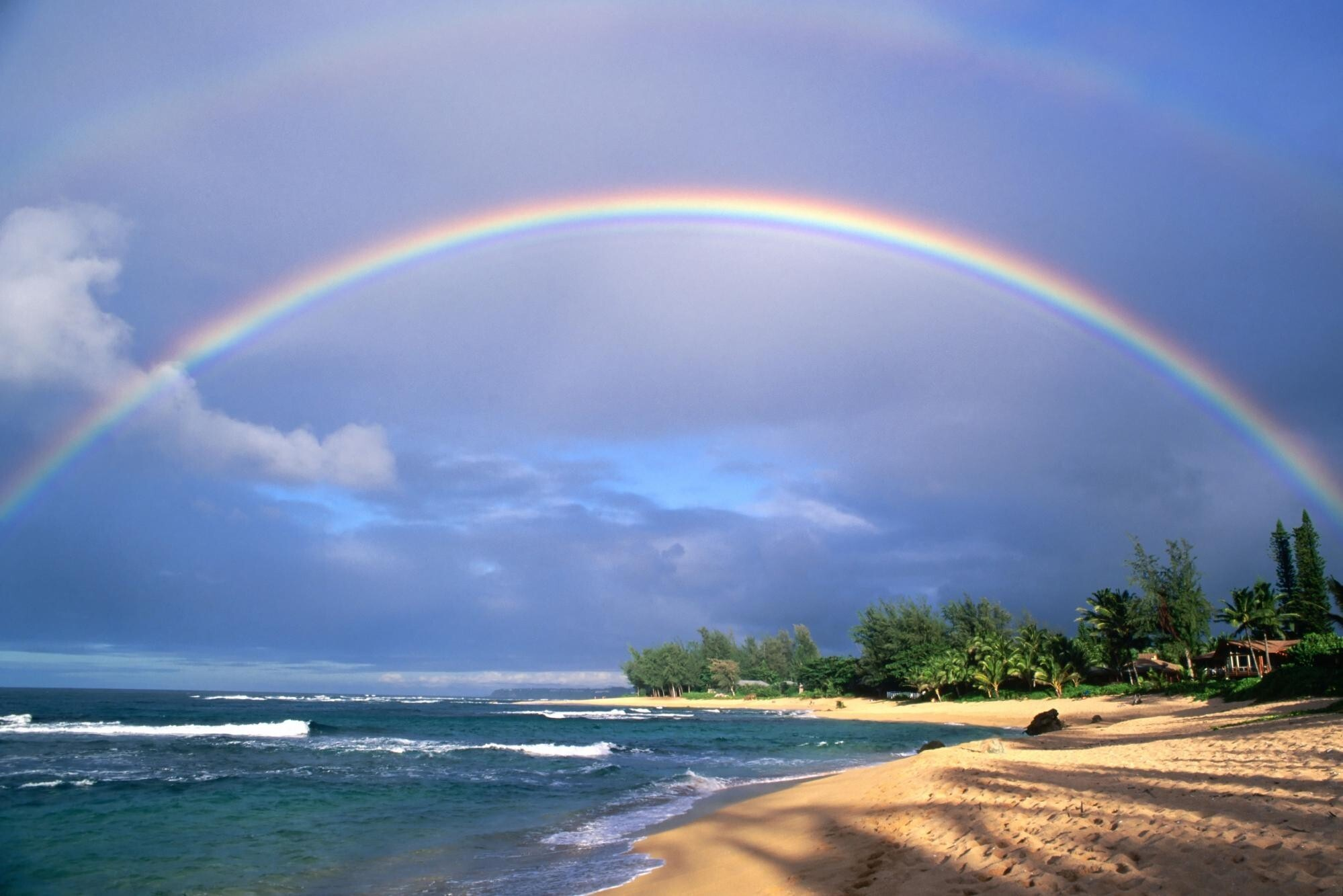 Rainbow on beach wallpaper hd wallpapers rainbow wallpapers voltagebd Choice Image