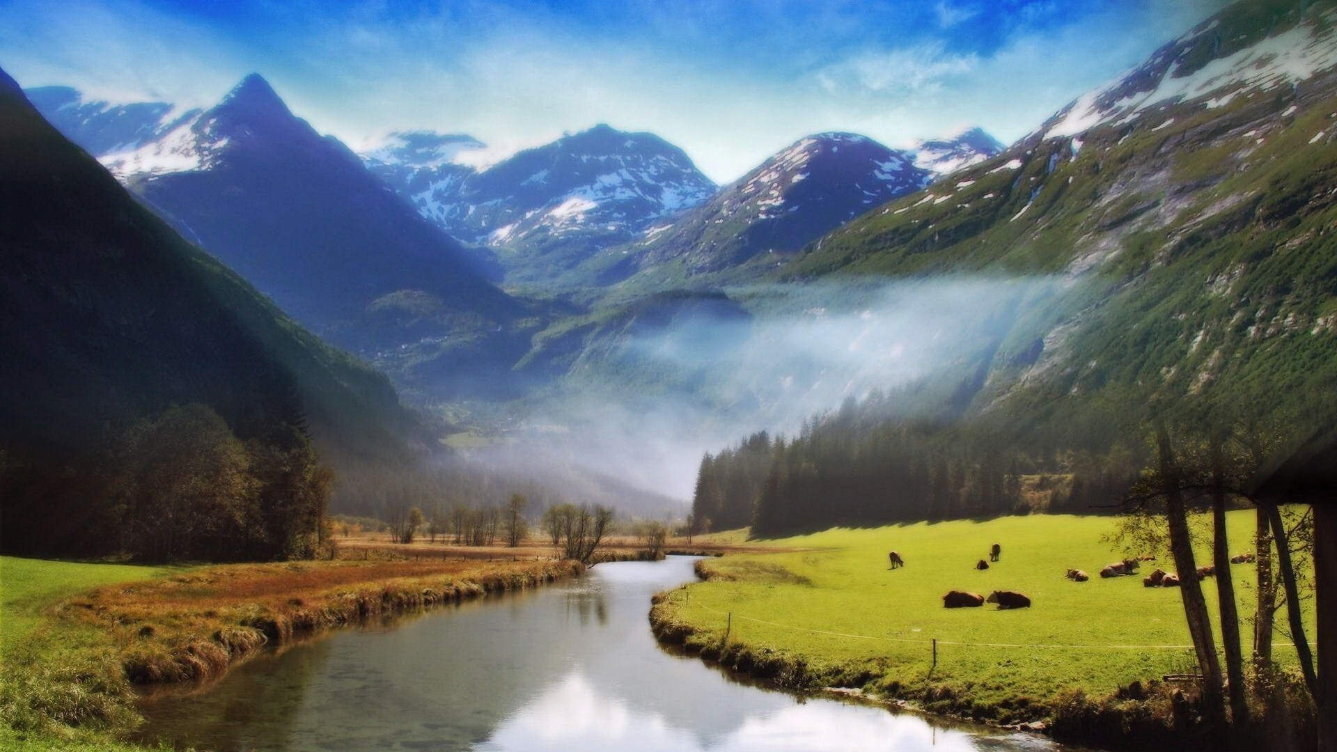 A Big River Flowing Between Mountain Wallpapers | HD Wallpapers