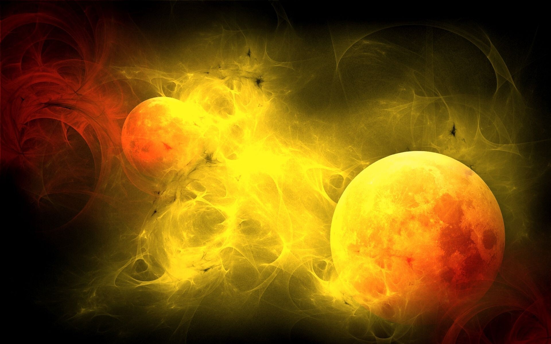 Yellow Theme Drawing of Planet | HD Wallpapers