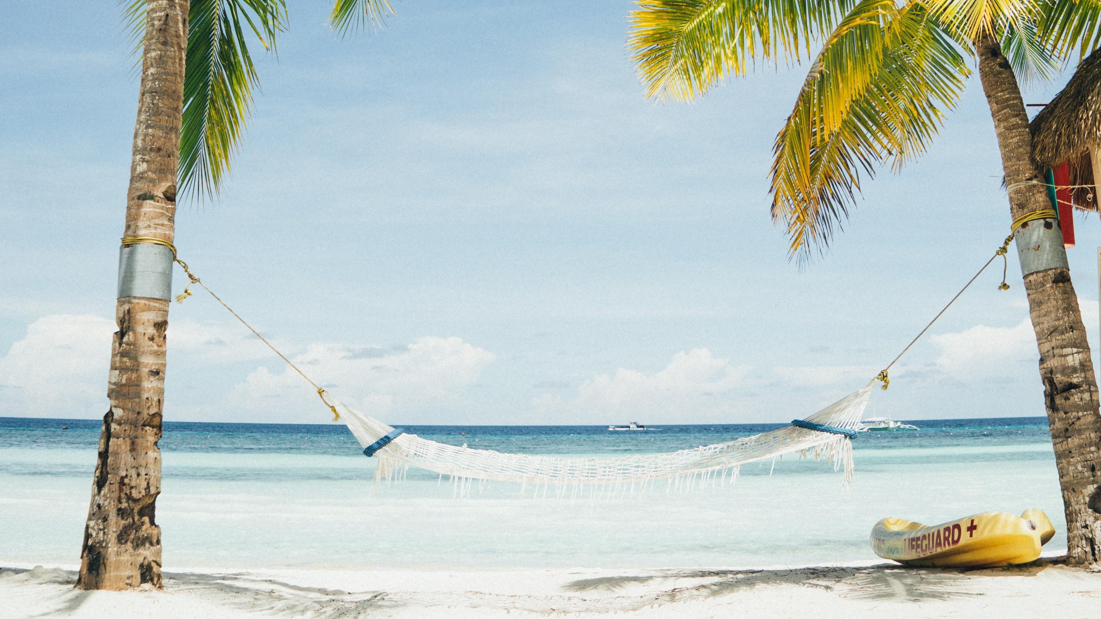 White Hammock In Beach Summer 4K Wallpaper