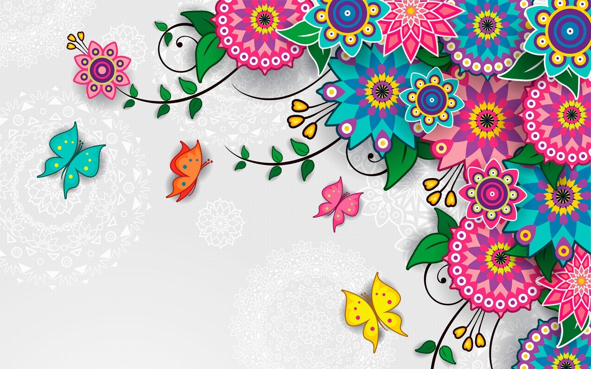 Butterfly And Flower Design Background