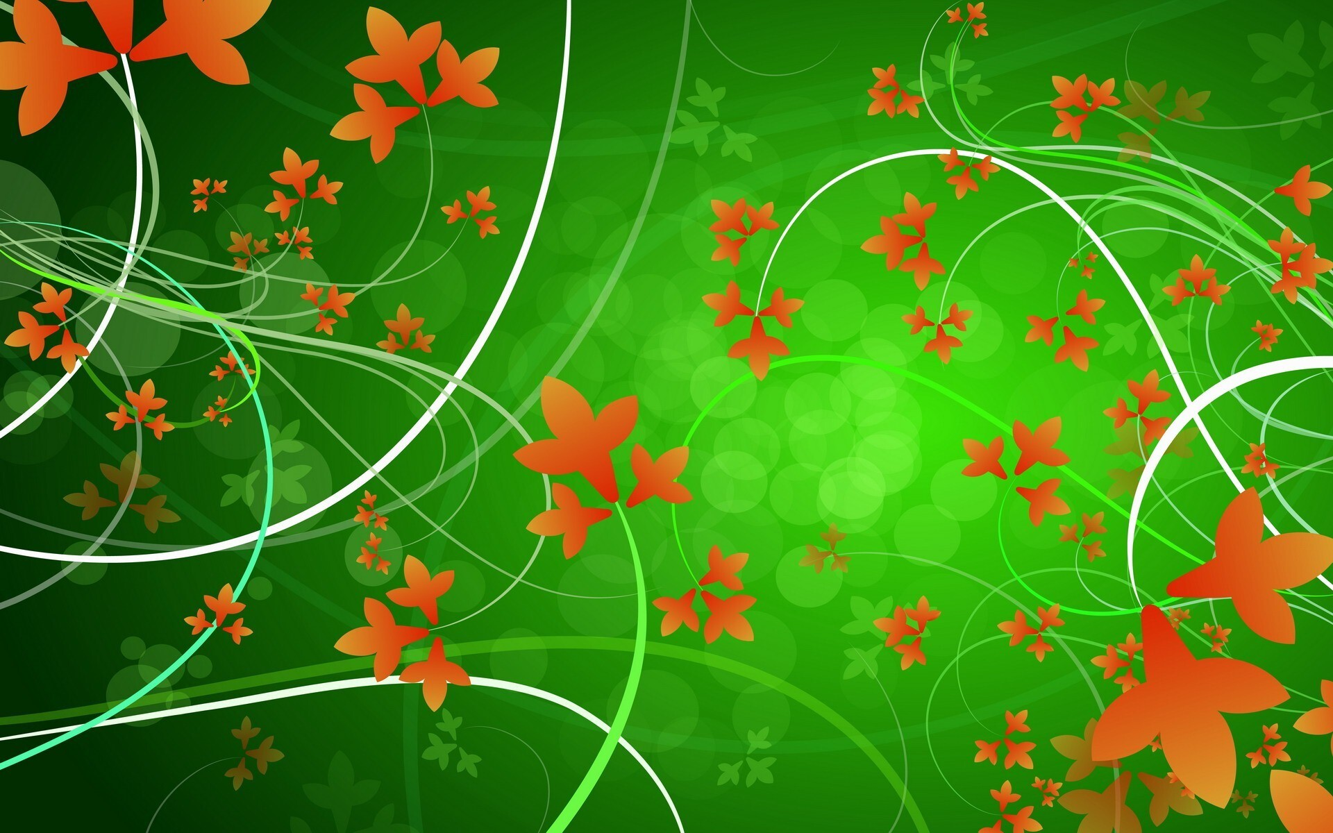 Green Background With Orange Leaves Designs