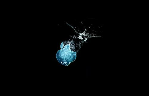 3D Apple Symbol in Water Theme