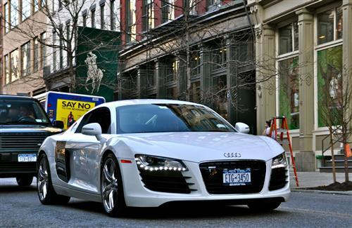 White Audi R8 on Road Wallpaper