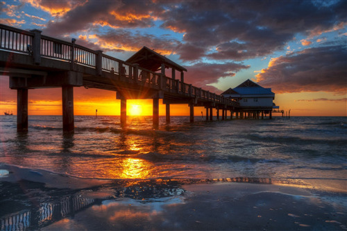 Amazing Clearwater Beach in Florida Sunset Wallpaper