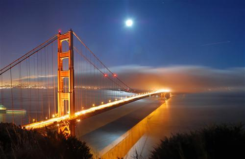 Amazing Night Look of Golden Gate Bridge Wallpaper