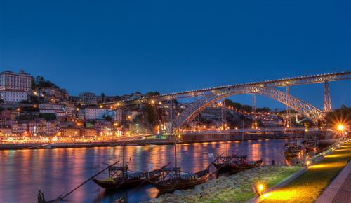 Beautiful Canal Bridge at Night in Porto City Portugal Wallpaper