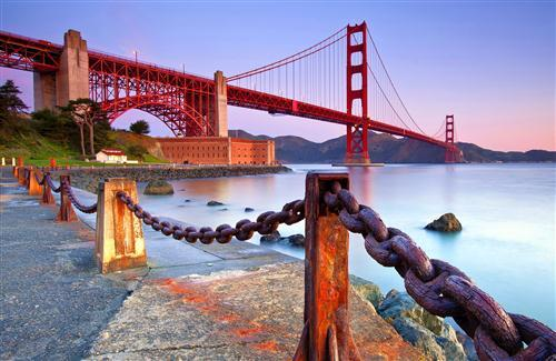 Beautiful Long Golden Gate Bridge in California USA HD Wallpaper Background