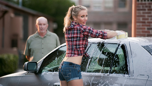 Cute Actress Cameron Diaz Washing Car Photo