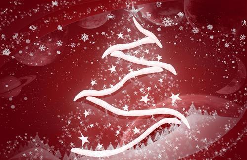 Amzing Snowy Christmas Tree Photo in Red Background HD Images