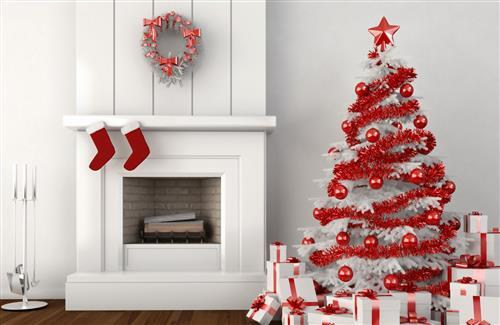 Beautiful Nice Red And White Christmas Trees And Gifts