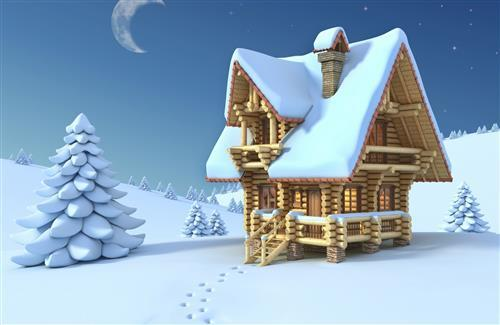 Beautiful Snowy House in Christmas Night Wallpaper
