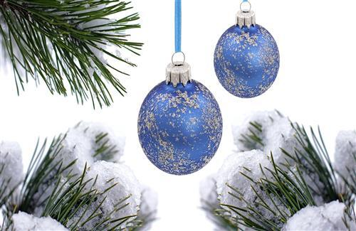 Christmas Blue Ball on Holiday Decoration Wallpaper