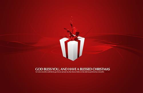 Christmas Gifts in Red Background with Blessing Quote