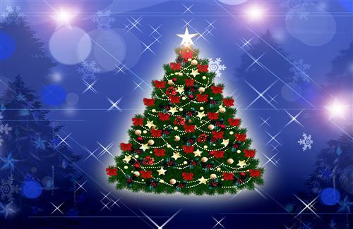 Christmas Tree Decoration in Blue Background Photos