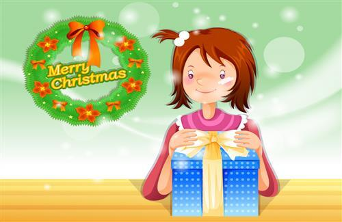 Merry Christmas Greetings Cartoon Girl with Gifts